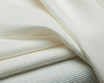 Yarn-dyed sheen pearl white 3D striped heavy silk blends cotton fabric, sewing for skirt,dress,blouse,outer,pants,suits,craft by the yard