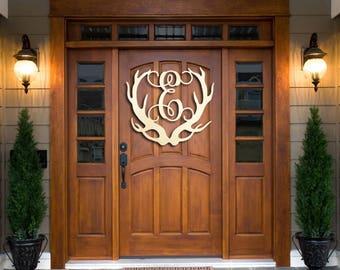 Wooden Antler Monogram Door Hanger Cabin Decor Door Sign Hunting Decor  Antler Sign Deer Antler Monogram