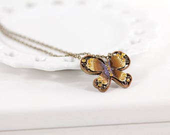 Butterfly Pendant Necklace Antique Brass Chain Necklace