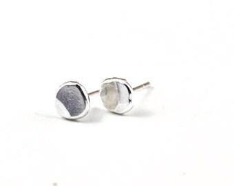 Tiny stud earrings -  silver stud earrings -  pebble stone earrings -  recycled silver earrings
