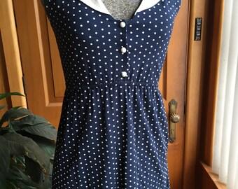 Navy blue and white polka dot mini dress - size S