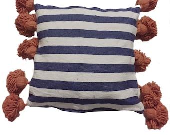 LINA Striped Moroccan cotton pillow cover - COBALT WHITE orange