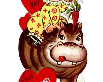 Vintage Valentine Digital Download Circus Hippo Clown Anthropomorphic