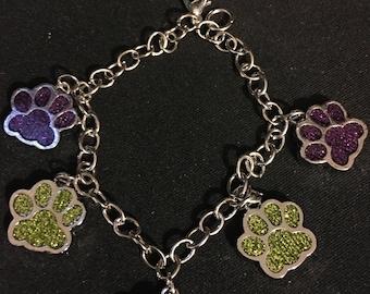 Purple and Gold Glittery Paw Print Charm Bracelet  X17