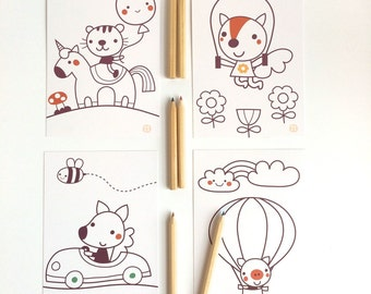 Color me! card set of 4 cards and little pencils
