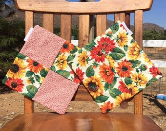 Quilted Sunflower Pot Holders, Trivets, 100% Cotton, Pot Holders