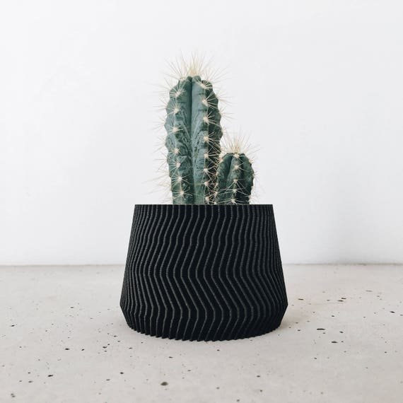 Minimalist Geometric Black Ebony Wooden Planter For Your