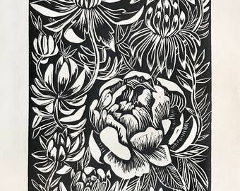 "Original Linocut Block print, ""Rose and Succulents"" made by Robyn Denny"