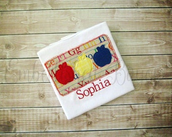 Personalized Vintage Apples Applique T-shirt for Boys or Girls
