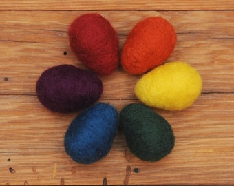 Rainbow Needle Felted Easter Eggs, Set of 6 Large Wool Eggs with optional Nest