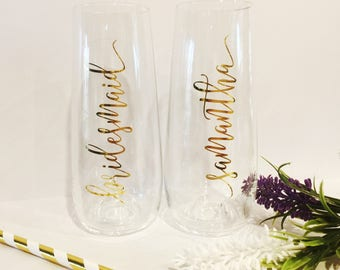 Diy bridal party champagne flute glass decal sticker