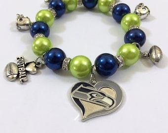 Seattle Seahawks 7.5in Charm Bracelet