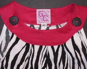 Girls Courduroy Jumper Boutique(Zebra/Fuschia)Size 4T