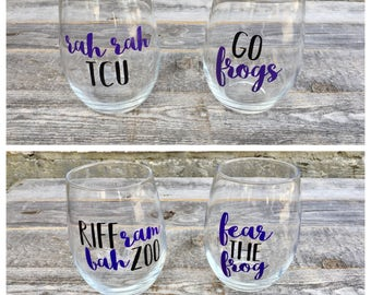 TCU Wine Glasses // Stemless Wine Glasses Set of 4 // Riff Ram Bah Zoo // Go Frogs // Rah Rah TCU // Fear the Frog // College Wine Glasses