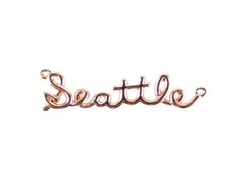 Rose Gold Plated Seattle Wire Name Pendant (1X) (K624-D)