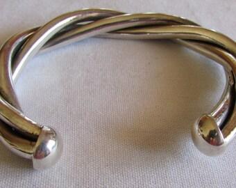 Bold Look Sterling Silver 3 Tubes Cuff Bracelet