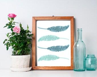 Feather Print  8x10 - Printable Art, Home Decor, Vintage, Mint Green, Wall Art, Nursery Art, Nursery Decor, Wall Art