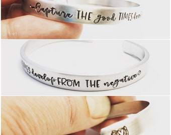 Photographer Gift ~ Capture the Good Times ~ Develop from the negatives ~ Hand Stamped Camera Cuff Bracelet ~ Photography Adjust  your Focus