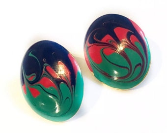 Vintage Earrings Oval Paint Swirl 90s Earrings Blue Pink Teal Stud Costume Large