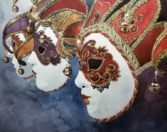 Original Watercolor Painting, Original Watercolor Artwork, Venice Masks Watercolor, Italy Watercolor, 30,5x23 cm