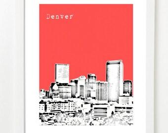 Denver Skyline Poster - Denver, Colorado Art Print - City Skyline Series - VERSION 2