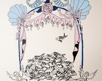 Shrine for fish, limited edition screen-print