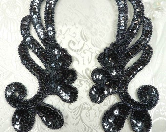 "0182 Sequin Beaded Appliques Gunmetal Mirror Pair Dance Patch 6"" (0182X-gm)"