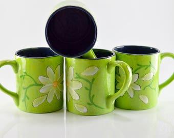 Mugs - 12 oz - Sour Apple Speckle - Daisy Design - Hand Painted