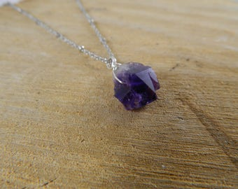 Raw Amethyst Necklace | Amethyst Point Necklace | Crystal Necklace | Gemstone Necklace | Wire-Wrapped Necklace