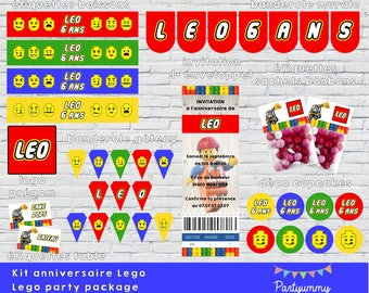 Lego set party printables package with ticket invitation and envelopp