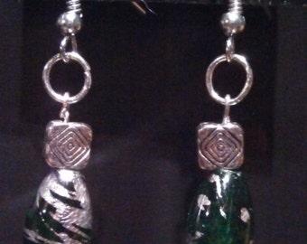 Green & Silver Dangle Earring