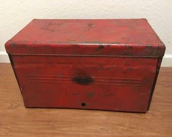 Vintage metal box, tool chest, toolbox