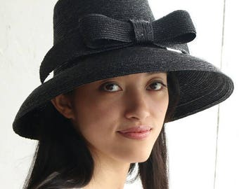 "Ribbon Straw Hat ""Greta Black"""