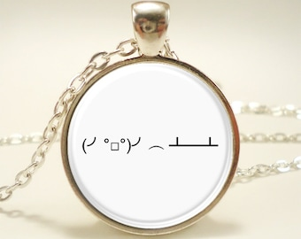 Flipping Table Emoticon Necklace, Internet Meme Jewelry (1479S1IN)