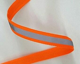 Orange Sew-On Tape Hi Visibility Silver Reflective Strips Hi Vis Safety 15mm Wide By Metre Lengths