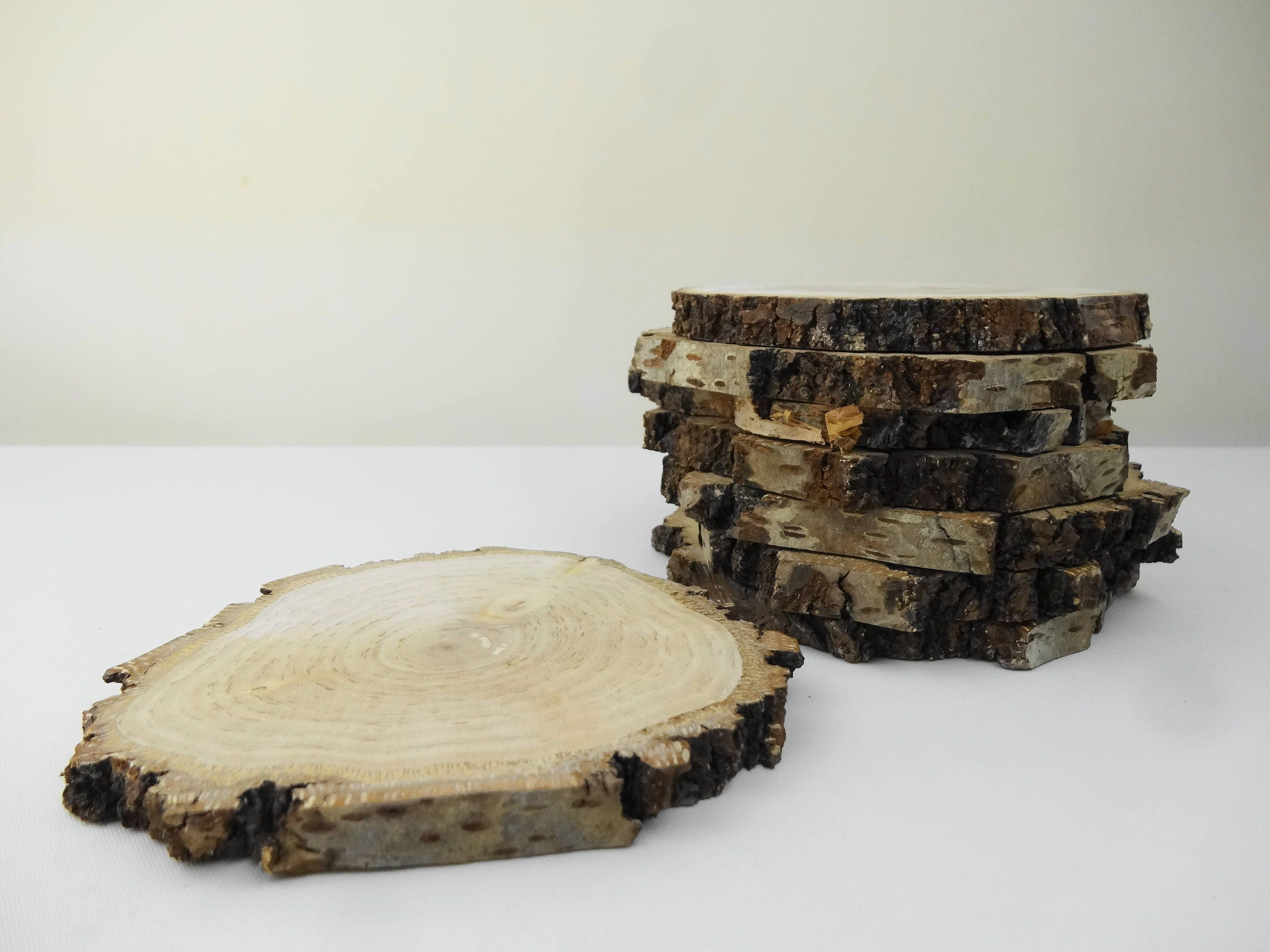 Bark Wood Tree Slabs, Natural Bark Wood Rounds, Rustic Wood Slices ...