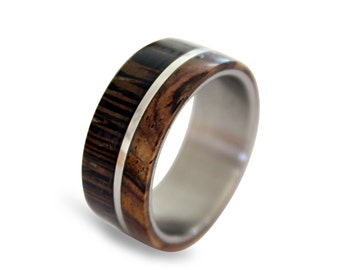 Titanium Ring with Wenge and Cocobolo Wood Inlay, Off-center Style, Unique Wedding Band