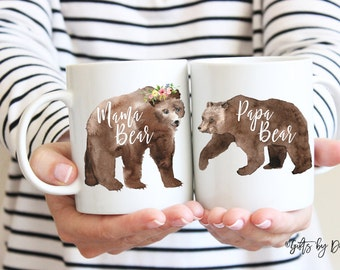 Gift For New Parents New Parent Gift Mom and Dad mugs, Baby Shower Gift, New Parents, Baby Announcement, papa bear mama bear mug set 346-7