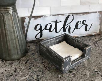 Napkin Holder Distressed - Dark Gray , Rustic box, Storage box, Storage Container, Kitchen Decor, Dining, Napkin Holder, Napkin Storage