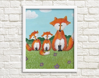 DIGITAL Print kids art FOXES - Instand download - Foxes painting (0005)