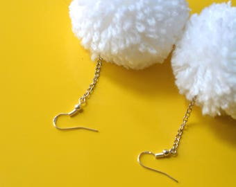White Pompom  Earrings