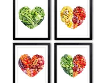 Set of 4 Kitchen Prints Kitchen Art Fruit Art Vegetable Art Still Life Apples, heart, vegetables, fruits *7*