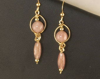 Pink Gold Filled Drop Dangle Earrings, Unique Russian Muscovite Stone Wire Wrapped Gold Earrings, Rose Pink Gold Earrings