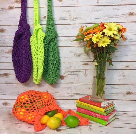 Market Bag Crochet Tote Bag Eco Net Beach Bag Bright Colors, Japanese Knot String Produce Bag, Strong Durable Recycle Reusable Grocery Bag by Etsy
