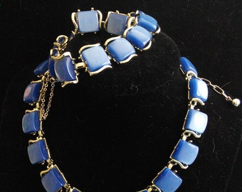 Coro Set, Blue Thermoset, Necklace, Bracelet and clip earrings