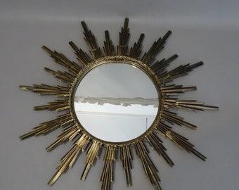Sunburst Mirror with yellow copper frame - 1960s