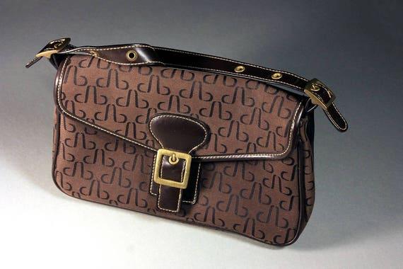 Brown Handbag, Shoulder Bag, Patterned, Magnet Closure, Adjustable Strap, Outside Pocket