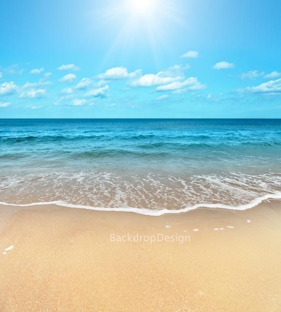Sea Beach Backdrop Blue Sky White Cloud Water Sand