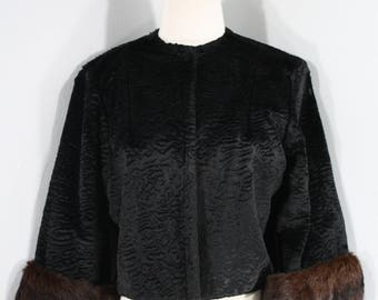 1960s Black Faux Persian Lamb Jacket with Mink Trim, by , Extra Small to Small | 60s Vintage Faux Fur and Fur Jacket (XS, S, 36-36)
