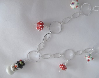 Christmas on a Silver Chain Necklace - Clearance Sale